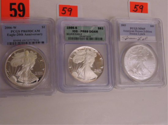 3-GRADED US SILVER EAGLES, ALL PR69 AND MS69,