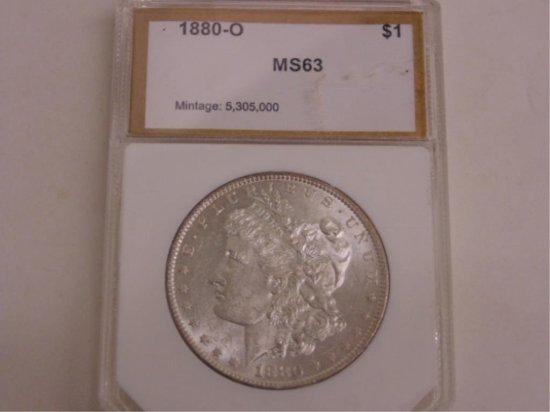 PCI GRADED MS63-1880-O MORGAN SILVER DOLLAR.