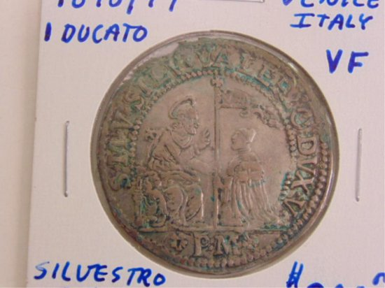 RARE 1698 ONE DUCATO ITALIAN SILVER COIN WITH