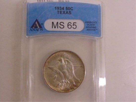 ANAC GRADED MS65-1934 TEXAS COMMEMORATIVE SILVER