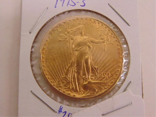 GOLD 1915-S ST GAUDENS $20 DOUBLE EAGLE, INV#21.
