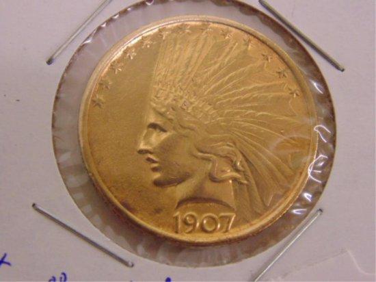 GOLD 1907 $10 INDIAN HEAD EAGLE, INV#18.