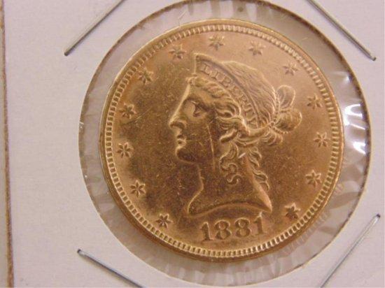 GOLD 1881 $10 LIBERTY HEAD EAGLE, INV#17.