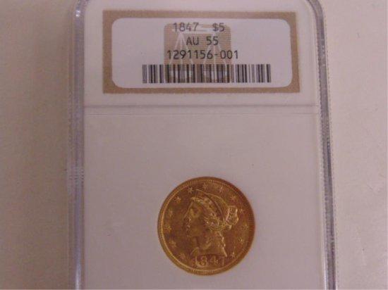 NGC GRADED AU55-1847-$5 LIBERTY HEAD GOLD HALF
