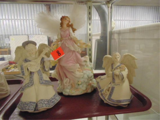 GROUP OF TWO ANGEL MUSIC BOXES AND ONE FIGURINE.