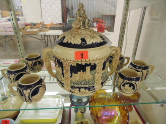 GERMAN LIDDED PUNCH SERVICE WITH EIGHT CUPS.