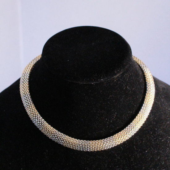 14k Gold Necklace, white and yellow, Bubble Mesh Look ; 38.5 Grams or 24.8 DWT