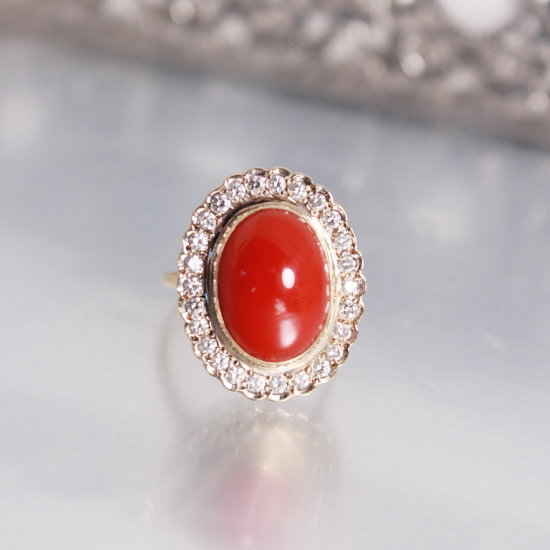 14k Gold/Red Coral Ring Set With Oval Shaped 16 x 12mm Mediterranean Red Coral, Surrounde