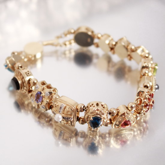 14k Gold & Gemstone, Heavy, Custom Gemstone Bracelet Set With Sky Blue Topaz, Onyx, Tanzan