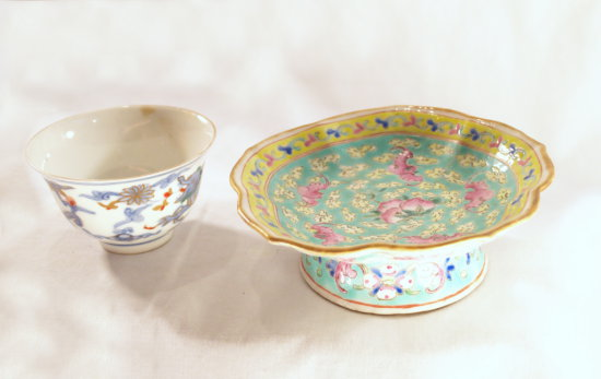 Floral Aqua Candy Dish AND Small Asian Bowl