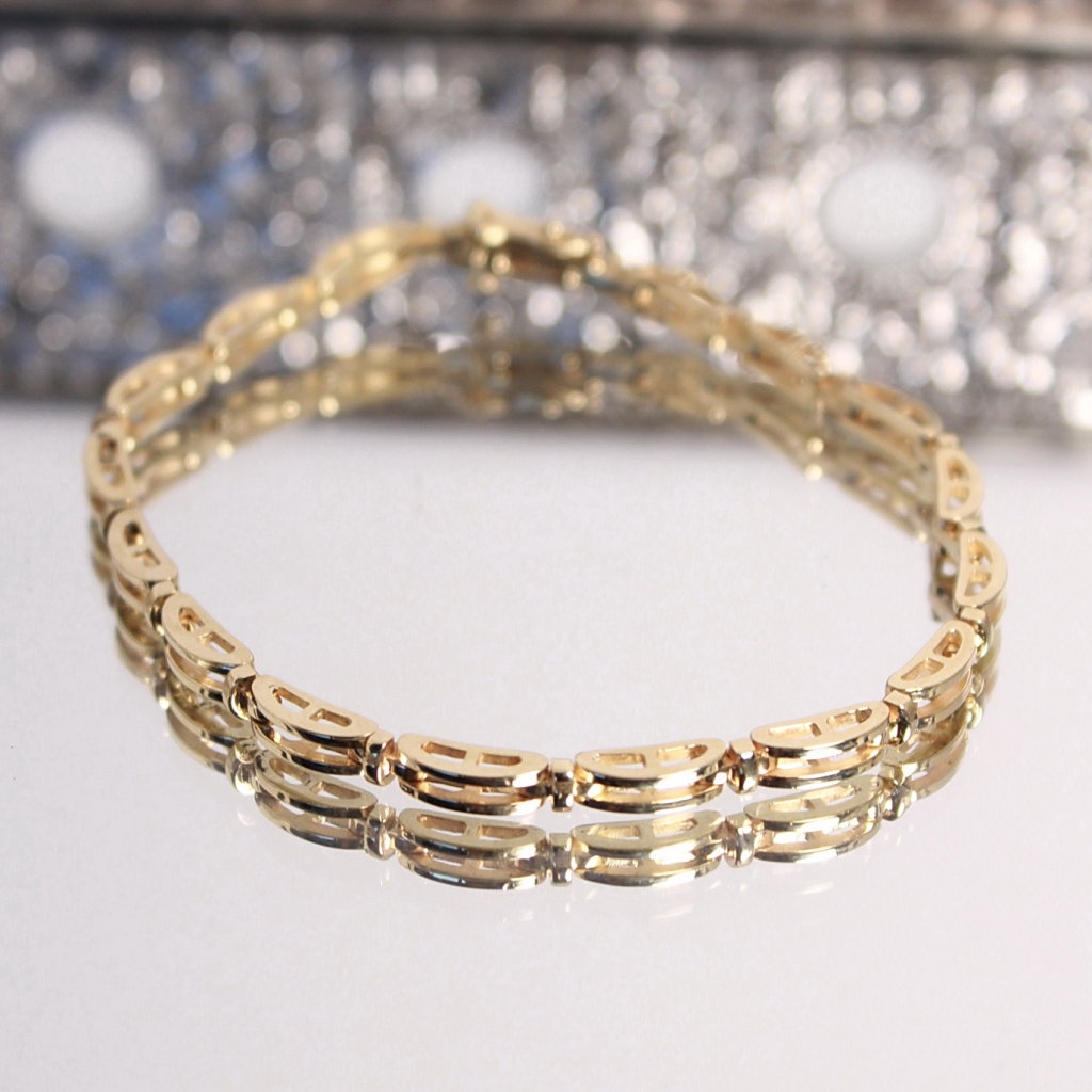 14k Gold 16 Link Heavy Chain Bracelet, 13.8 Grams