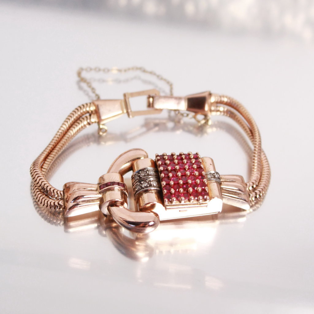 14k Gold & Ruby Watch Bracelet With Hinged Lid, Crusted With Rubies, Lucien P