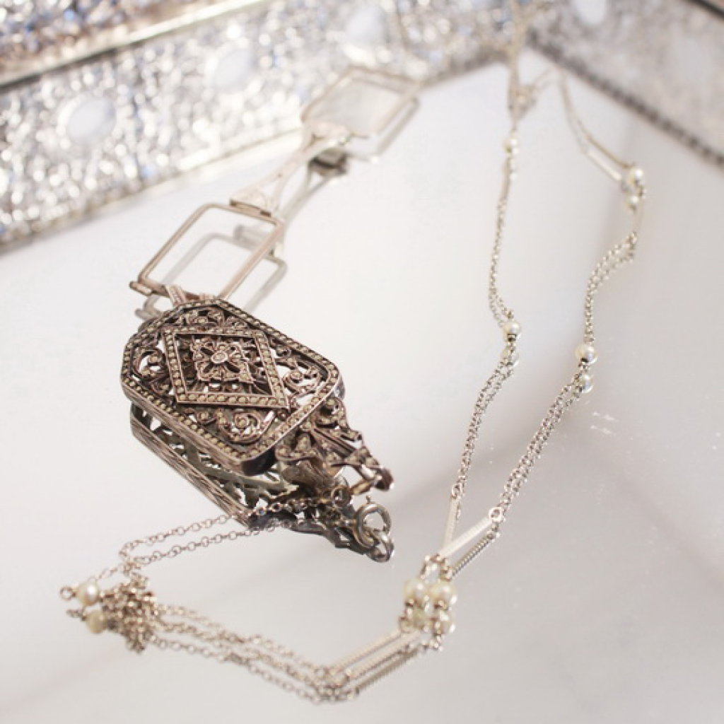 Antique Sterling Silver Locket With Stones And Pop out Opera Glasses