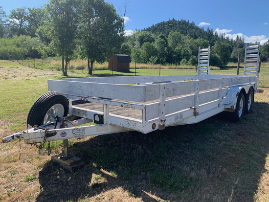 2004 20 Ft. Side Stake Trailer Double Axel W/Fold Up Ramps (Tags Good)