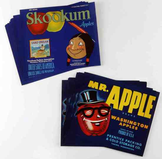 21 SKOOKUM & 16 MR APPLE FRUIT CRATE LABELS