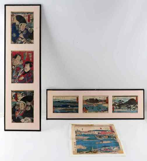 LOT OF UTUGAWA HIROSHIGE UKIYO E WOOD BLOCK PRINTS