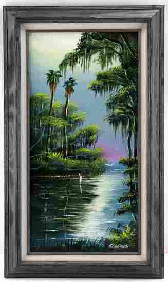 ROBERT LEWIS HIGHWAYMAN FLORIDA WATERSCAP PAINTING