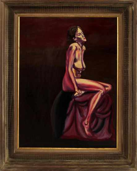 MODERN CONTEMPORARY FEMALE NUDE OIL PAINTING