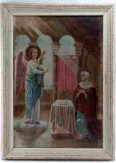 ANTIQUE OIL ON CANVAS RUSSIAN ICON ANNUNCIATION