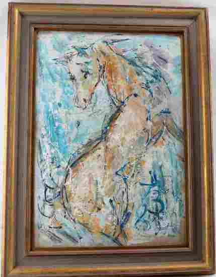 ANATOLIY ZVEREV OIL ON CANVAS EXPRESSIONIST HORSE