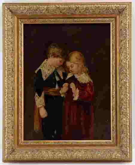 OIL ON BOARD PAINTING OF YOUNG BOY AND GIRL W BIRD
