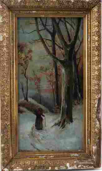 A.A. MILLS OIL CANVAS WOMAN WALKING IN SNOWY WOODS