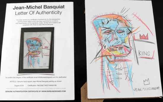 JEAN-MICHEL BASQUIAT COLORED PENCIL SKULL DRAWING