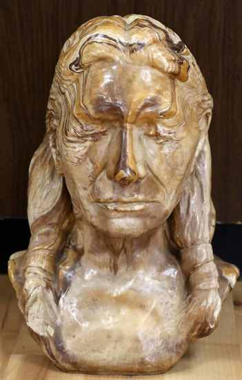 LIFE SIZE STONE NATIVE AMERICAN BUST STATUE