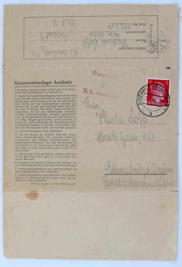 WWII AUSCHWITZ LETTER HOME CENSORED BY OFFICIALS