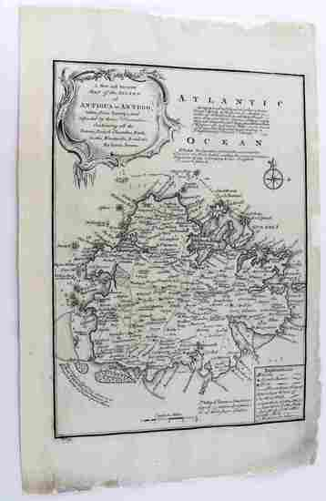 18TH CENTURY BOWEN MAP OF ANTIGUA
