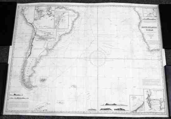 ANTIQUE MAP OF THE SOUTHERN ATLANTIC OCEAN