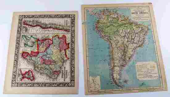 ANTIQUE 19TH CENTURY ANTIQUE MAP LOT OF TWO