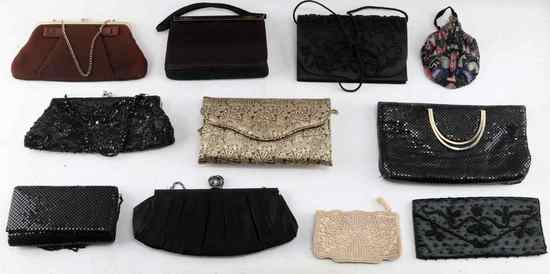 LOT OF 11 EVENING PURSES CROWN LEWIS W ACCESSORIES