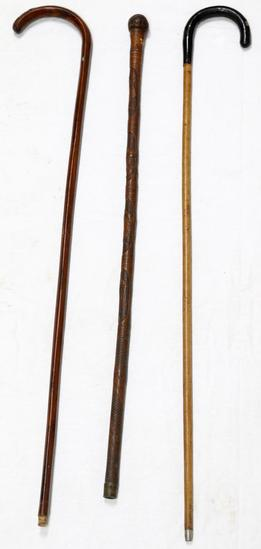 ANTIQUE WALKING CANE STICK LOT OF 3 ASIAN & INLAY
