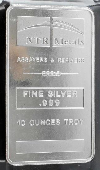 NTR SILVER BULLION 10 OUNCE TROY .999 FINE BAR