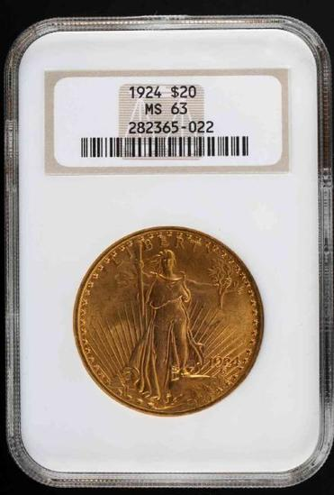 1924 ST GAUDENS $20 DOUBLE EAGLE MS 63 NGC