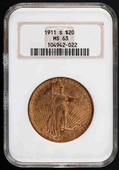 1911 ST GAUDENS $20 SAN FRANCISCO  MS 63 NGC