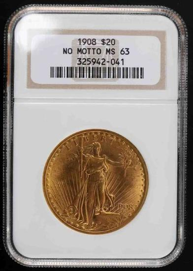 1908 ST GAUDENS $20 NO MOTTO DOUBLE EAGLE MS63 NGC