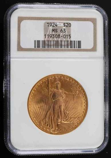 1924 ST GAUDENS GOLD $20 DOUBLE EAGLE COIN MS63