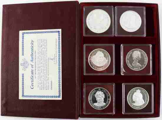CAYMAN ISLANDS SILVER QUEENS COLLECTION 1977 COINS