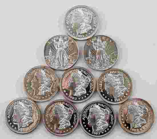 9 AMERICAN PACIFIC MINT 1983 .999 SILVER ROUNDS