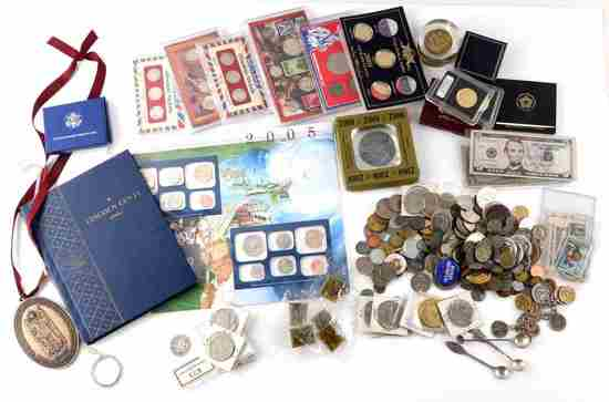 OVER 9 LBS OF WORLD COINS CURRENCY & NUMISMATICS