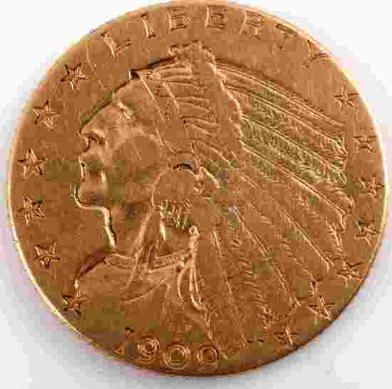 1909 GOLD $2.50 QUARTER EAGLE INDIAN GOLD COIN XF