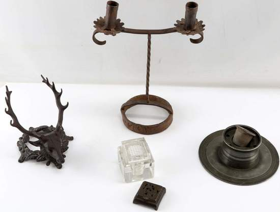 STAG INK WELL COLONIAL BLACKSMITH MADE CANDLESTICK