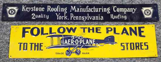2 ANTIQUE SIGNS AER-O-PLANE STORES & KEYSTONE ROOF