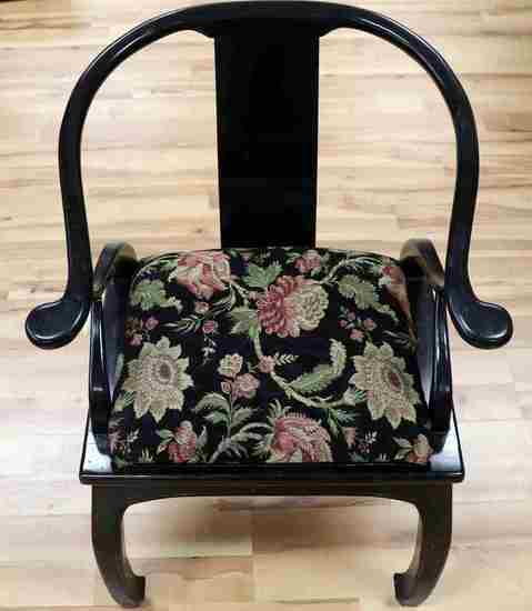 BLACK IMPERIAL STYLE CHINESE CHAIR UPHOLSTERED