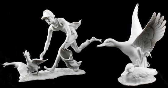 KAISER PORCELAIN FIGURINES DUCK AND DUCK CHASER