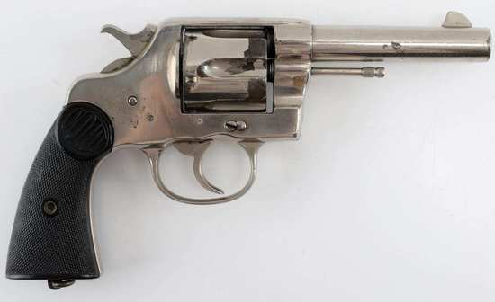 COLT NEW SERVICE 6 SHOT REVOLVER NICKEL .45 COLT