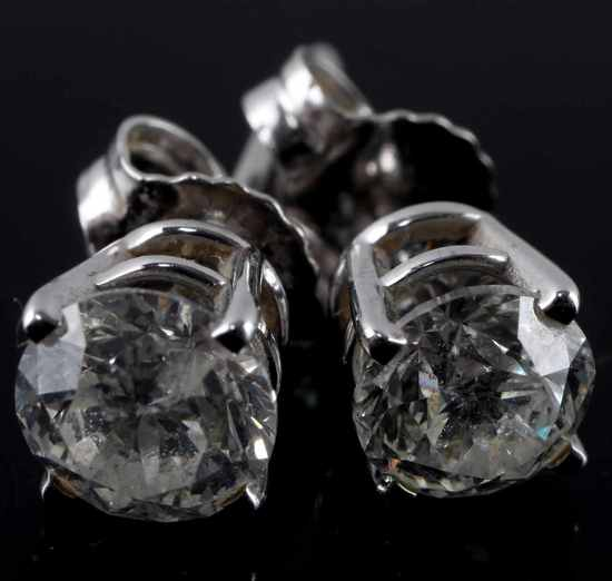 .5 EACH 1 TCW DIAMOND STUD EARRING 14K WHITE GOLD