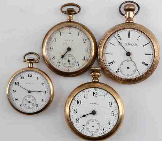 ANTIQUE AMERICAN WALTHAM & ELGIN POCKET WATCH LOT